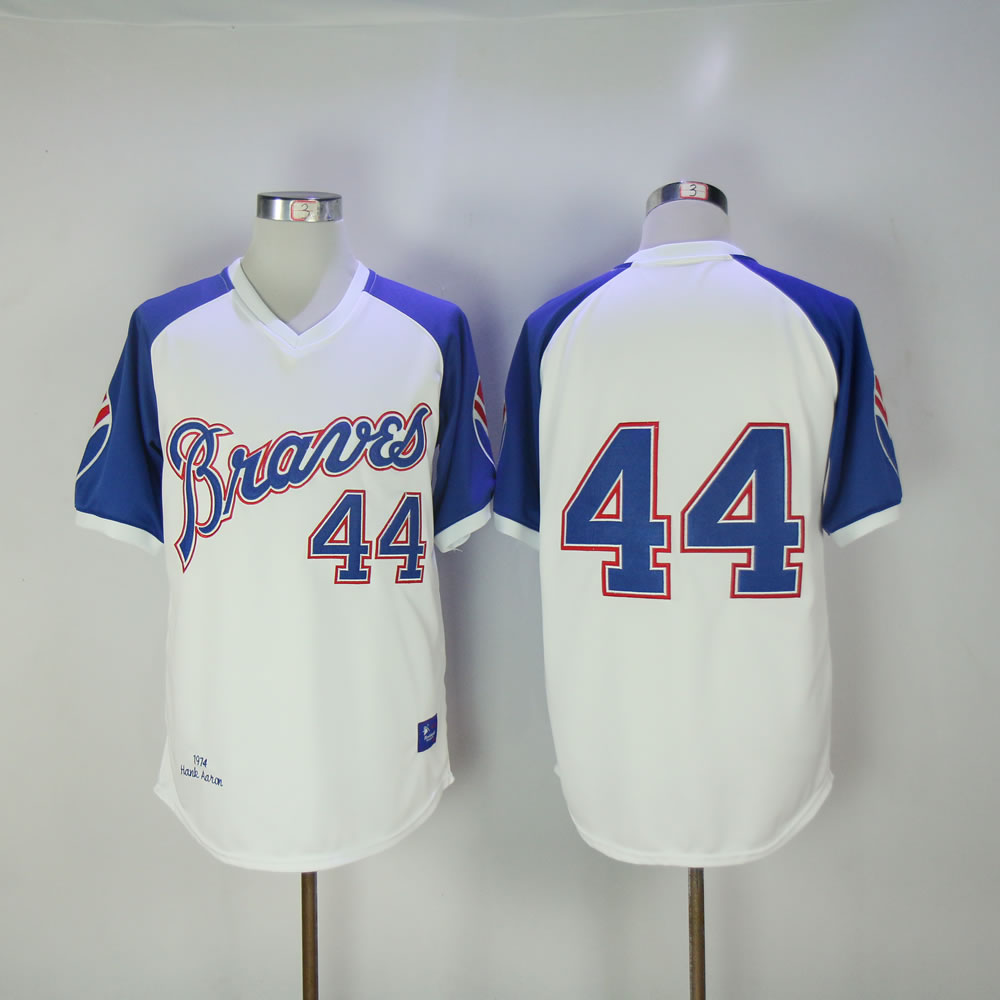 Men Atlanta Braves 44 Aaron White Throwback MLB Jerseys