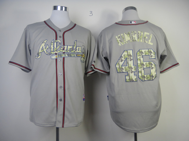 Men Atlanta Braves 46 Kimbrel Grey Camo MLB Jerseys