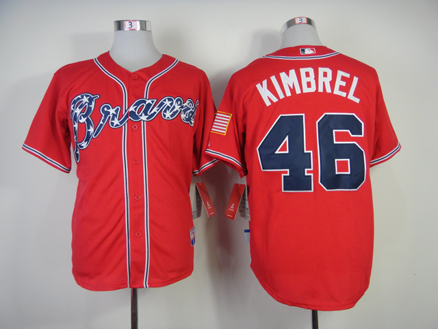 Men Atlanta Braves 46 Kimbrel Red MLB Jerseys