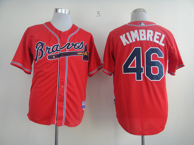 Men Atlanta Braves 46 Kimbrel Red MLB Jerseys1