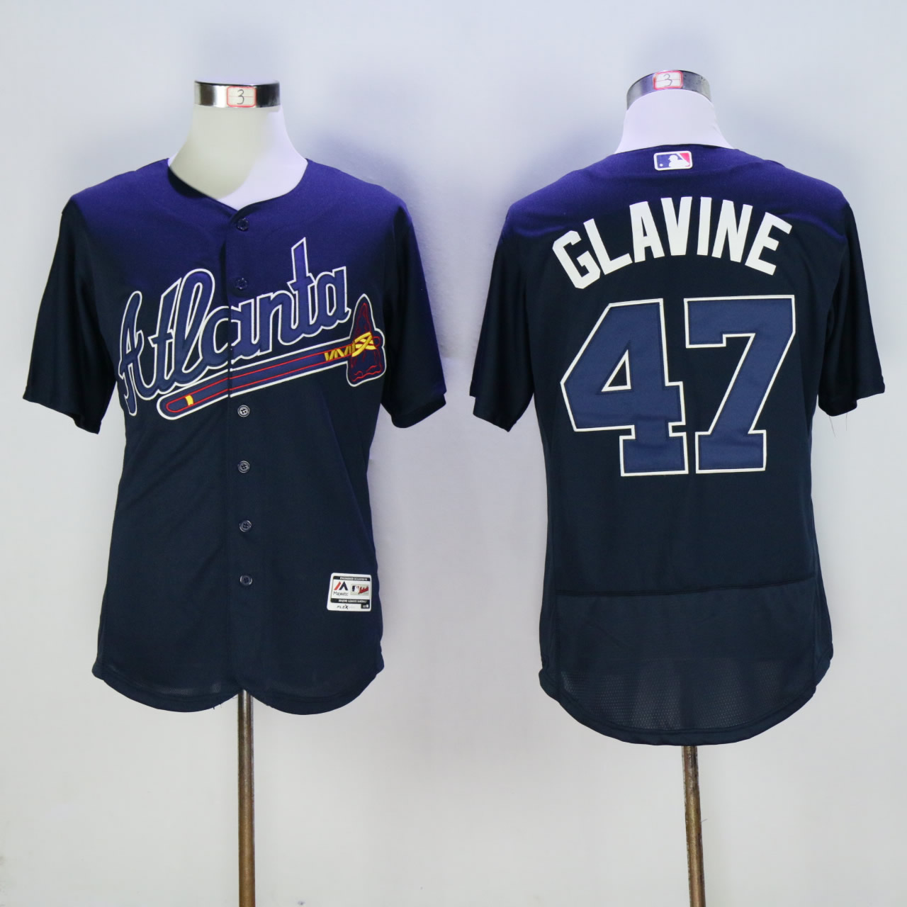 Men Atlanta Braves 47 Glavine Blue Elite MLB Jerseys