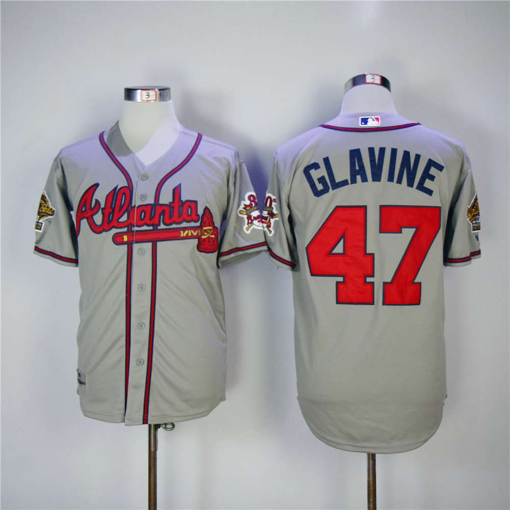 Men Atlanta Braves 47 Glavine Grey Throwback MLB Jerseys