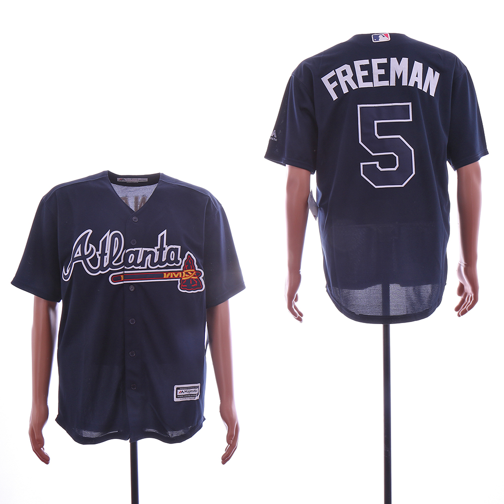 Men Atlanta Braves 5 Freeman Black MLB Jerseys