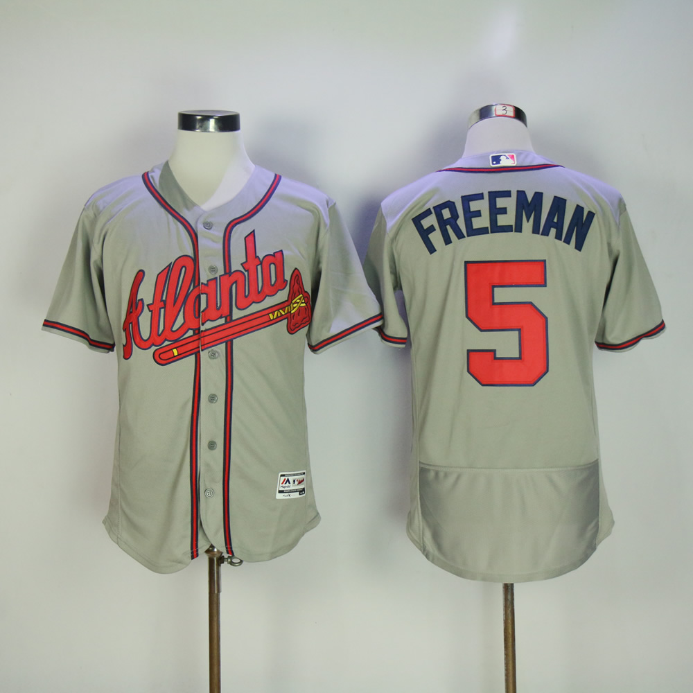 Men Atlanta Braves 5 Freeman Grey Elite MLB Jerseys