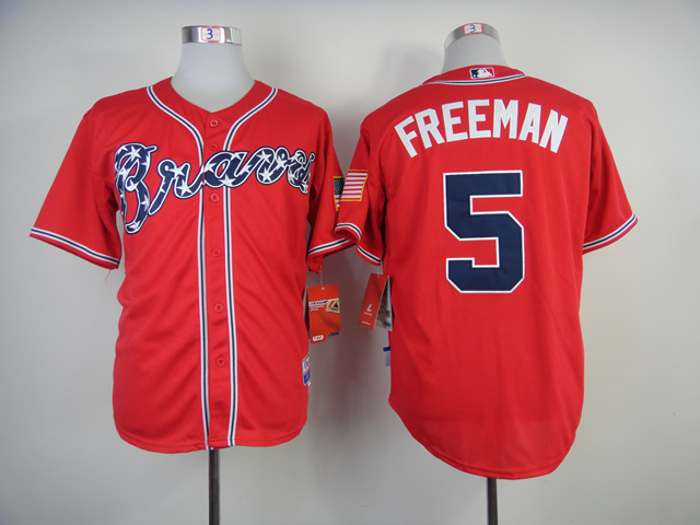 Men Atlanta Braves 5 Freeman Red MLB Jerseys