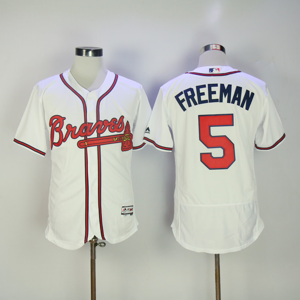 Men Atlanta Braves 5 Freeman White MLB Jerseys