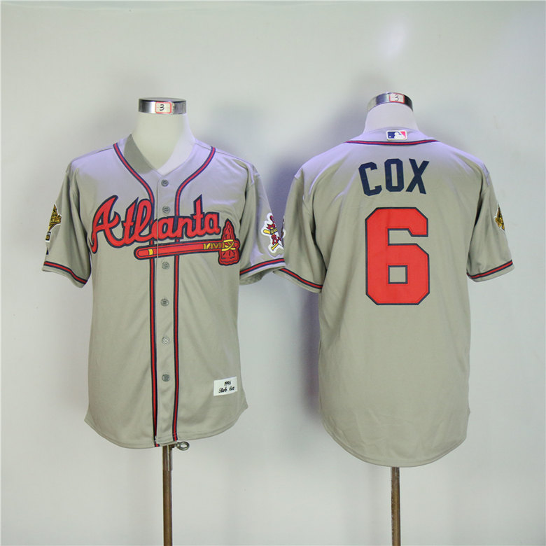 Men Atlanta Braves 6 Cox Grey Throwback 1995 MLB Jerseys