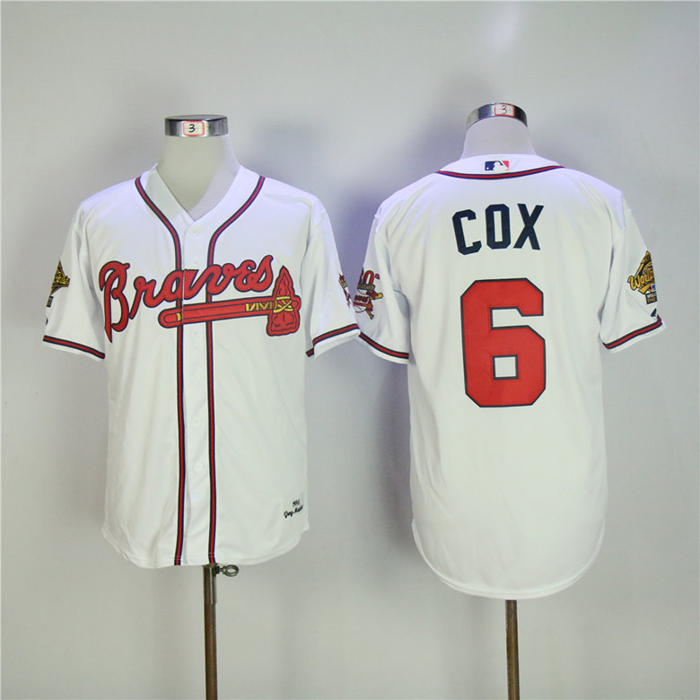 Men Atlanta Braves 6 Cox White Throwback 1995 MLB Jerseys