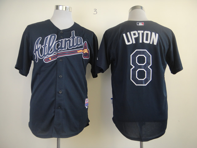 Men Atlanta Braves 8 Upton Blue MLB Jerseys