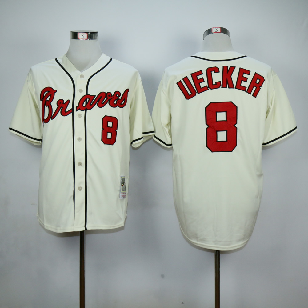 Men Atlanta Braves 8 Upton Cream MLB Jerseys