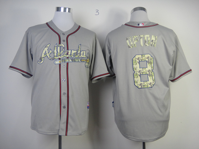 Men Atlanta Braves 8 Upton Grey Camo MLB Jerseys