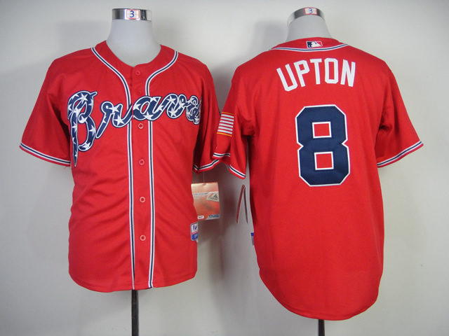 Men Atlanta Braves 8 Upton Red MLB Jerseys