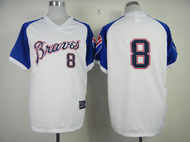 Men Atlanta Braves 8 Upton White Throwback 1974 MLB Jerseys