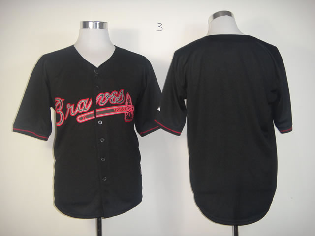 Men Atlanta Braves Blank Black Fashion MLB Jerseys