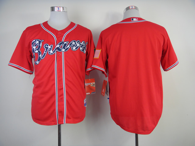 Men Atlanta Braves Blank Red MLB Jerseys1