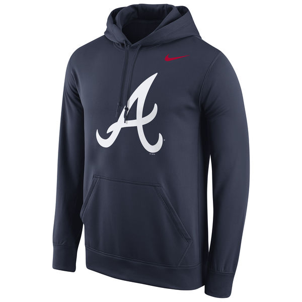 Men Atlanta Braves Nike Logo Performance Pullover Hoodie Navy