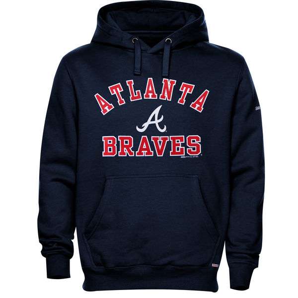 Men Atlanta Braves Stitches Fastball Fleece Pullover Hoodie Navy Blue