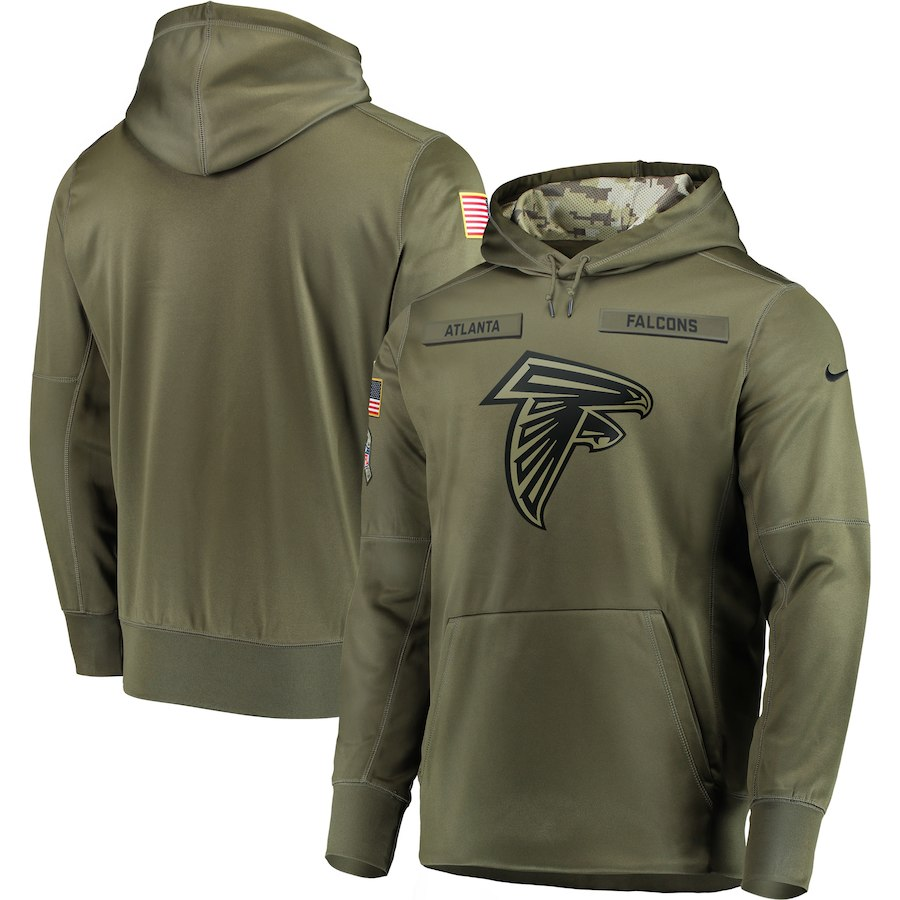 Men Atlanta Falcons Nike Olive Salute To Service KO Performance Hoodie Green