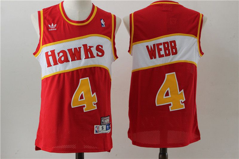 Men Atlanta Hawks 4 Spud Webb Red Stitched Throwback NBA Jersey
