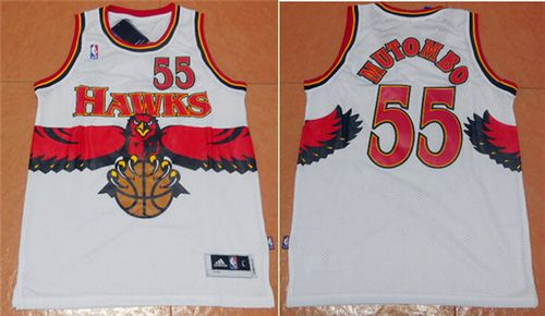 Men Atlanta Hawks 55 Dikembe Mutombo White Throwback Stitched NBA Jersey