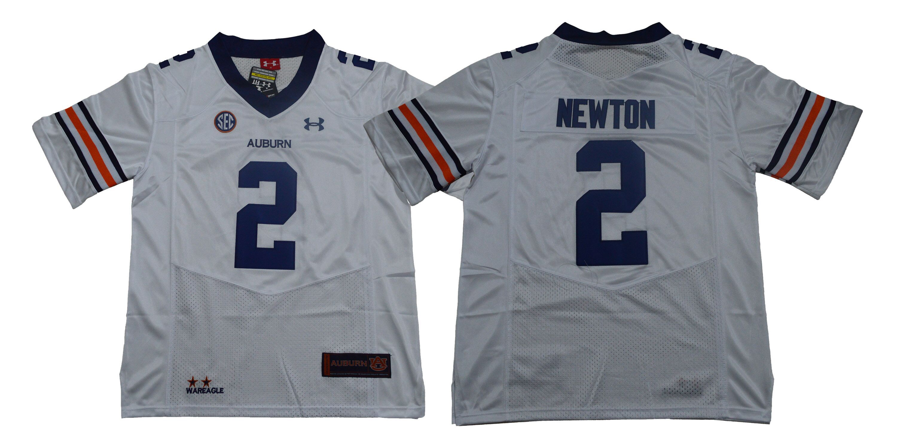 Men Auburn Tigers 2 Newton White SEC NCAA Jerseys