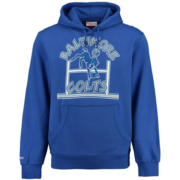 Men Baltimore Colts Mitchell Ness Retro Pullover Hoodie Royal