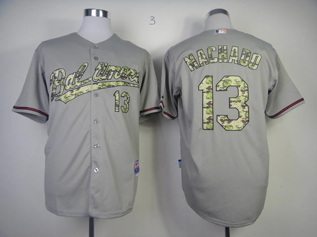 Men Baltimore Orioles 13 Machado Grey Camo MLB Jerseys