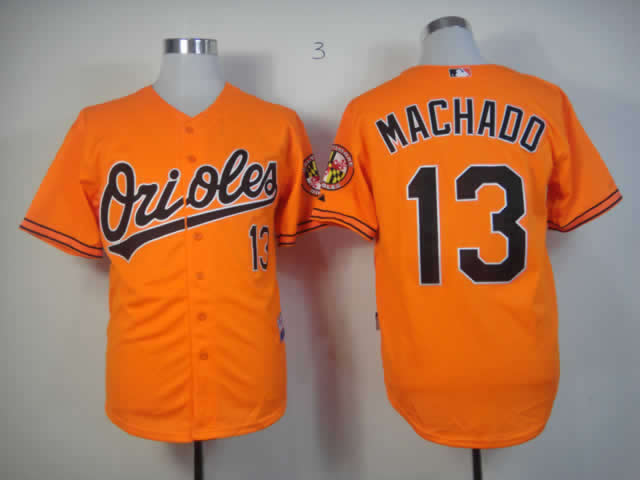 Men Baltimore Orioles 13 Machado Orange MLB Jerseys