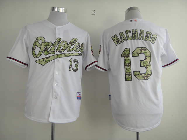 Men Baltimore Orioles 13 Machado White Camo MLB Jerseys