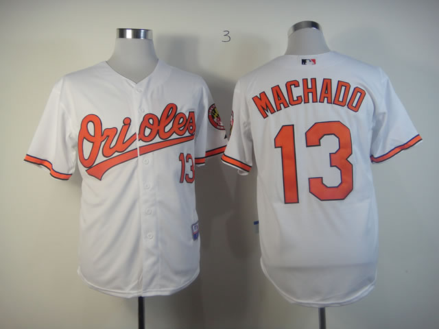 Men Baltimore Orioles 13 Machado White MLB Jerseys