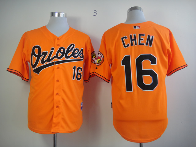 Men Baltimore Orioles 16 Chen Orange MLB Jerseys
