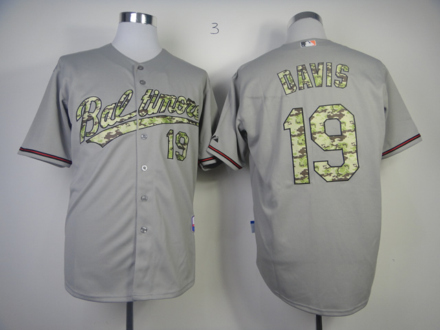 Men Baltimore Orioles 19 Davis Grey Camo MLB Jerseys