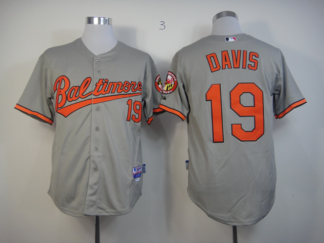 Men Baltimore Orioles 19 Davis Grey MLB Jerseys