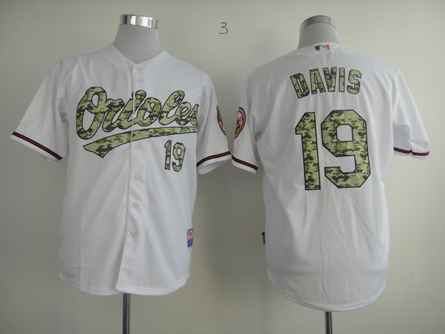 Men Baltimore Orioles 19 Davis White Camo MLB Jerseys