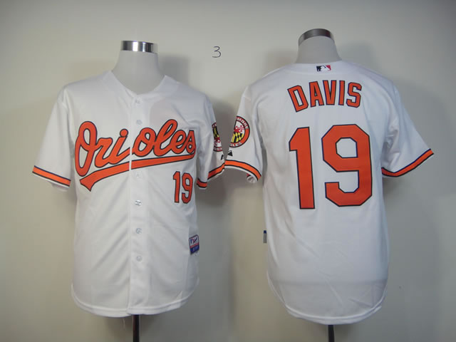 Men Baltimore Orioles 19 Davis White MLB Jerseys
