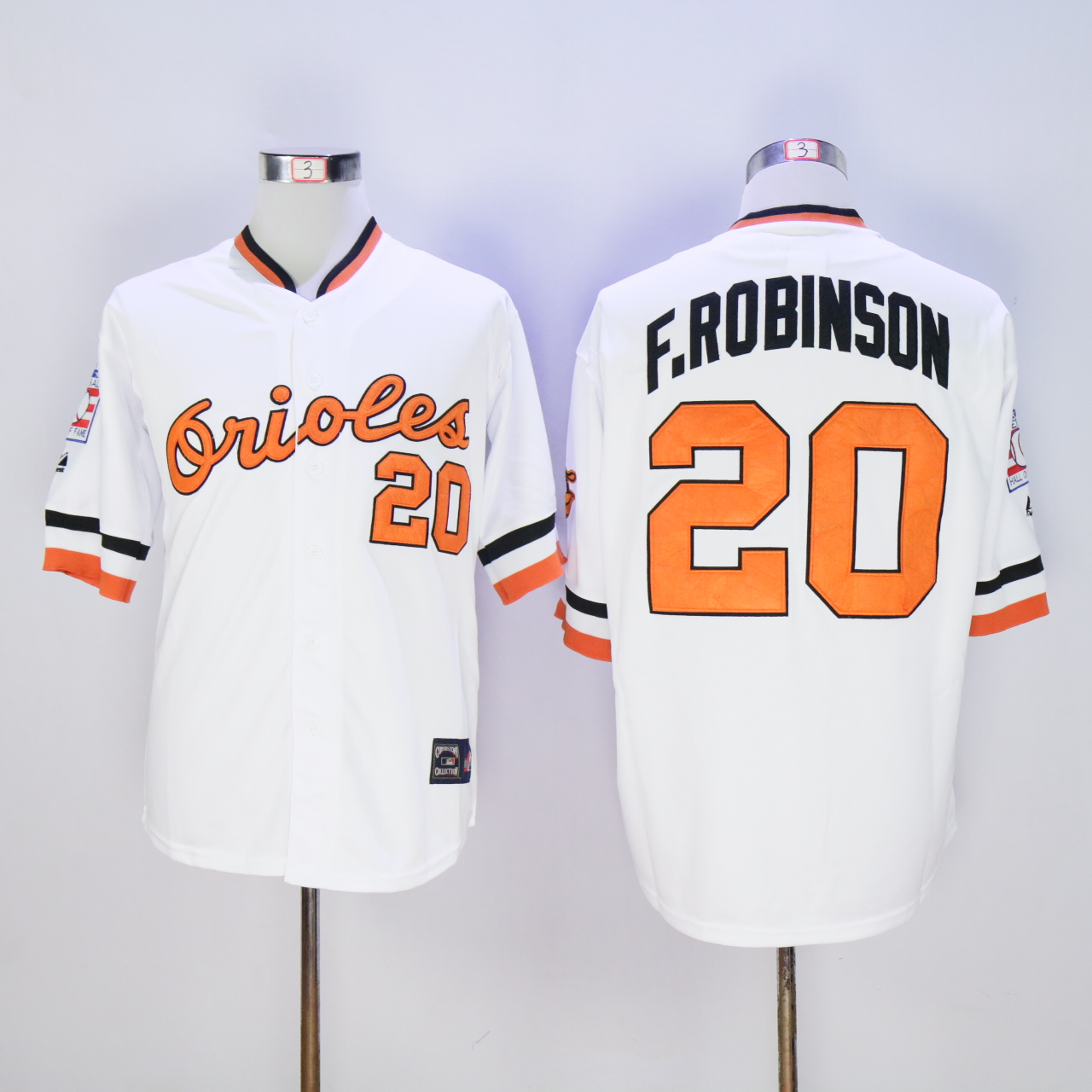 Men Baltimore Orioles 20 F.Robinson White Throwback MLB Jerseys