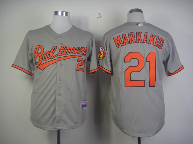 Men Baltimore Orioles 21 Markakis Grey MLB Jerseys