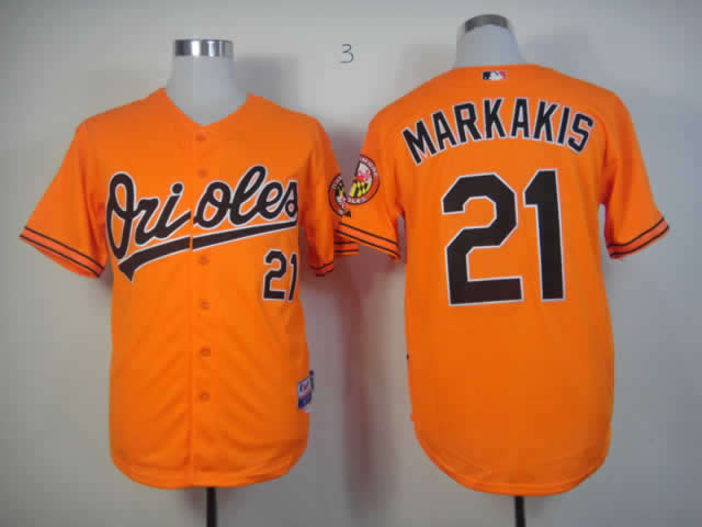 Men Baltimore Orioles 21 Markakis Orange MLB Jerseys