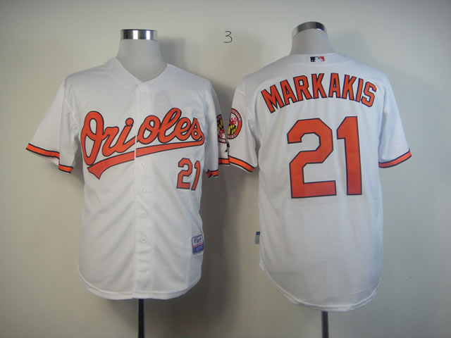 Men Baltimore Orioles 21 Markakis White MLB Jerseys