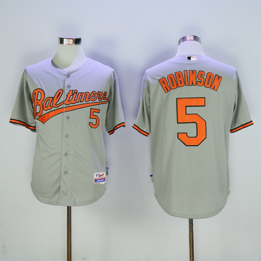 Men Baltimore Orioles 5 Robinson Grey MLB Jerseys