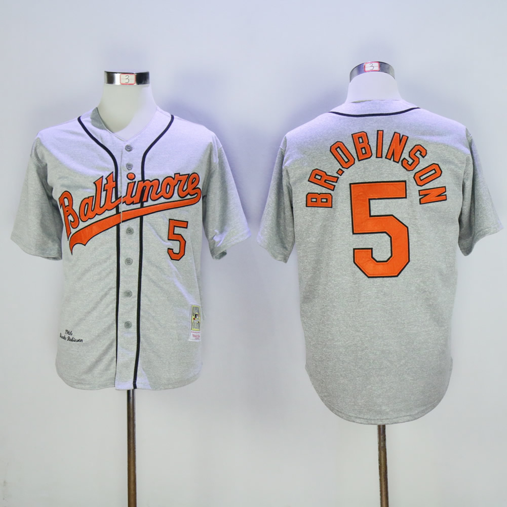 Men Baltimore Orioles 5 Robinson Grey Throwback MLB Jerseys