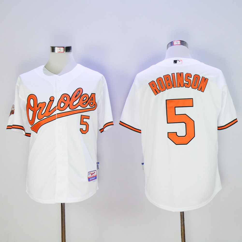 Men Baltimore Orioles 5 Robinson White Throwback MLB Jerseys