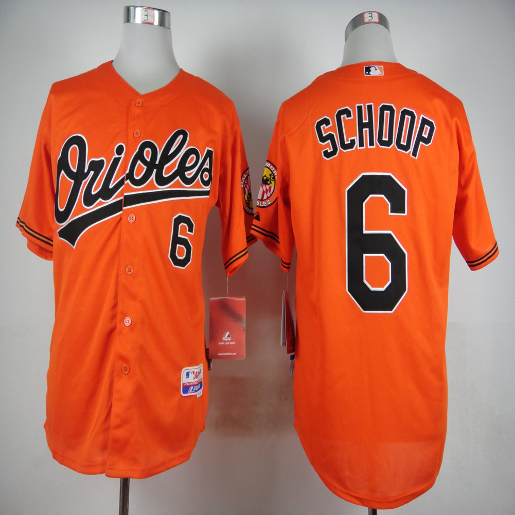 Men Baltimore Orioles 6 Schoop Orange MLB Jerseys