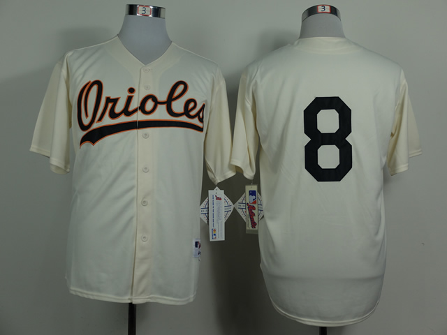 Men Baltimore Orioles 8 Cal Ripken Gream Throwback 1954 MLB Jerseys