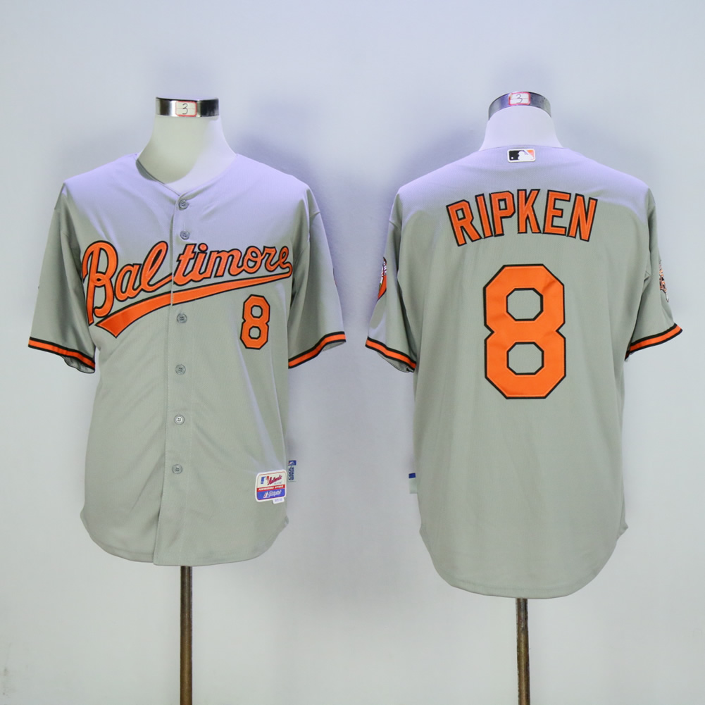 Men Baltimore Orioles 8 Cal Ripken Grey MLB Jerseys