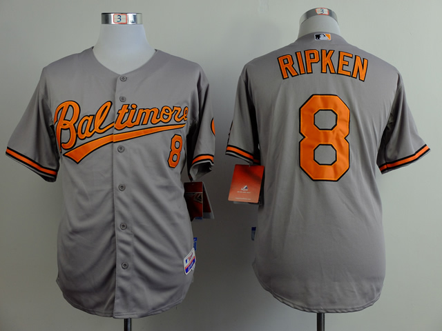Men Baltimore Orioles 8 Cal Ripken Grey Throwback MLB Jerseys