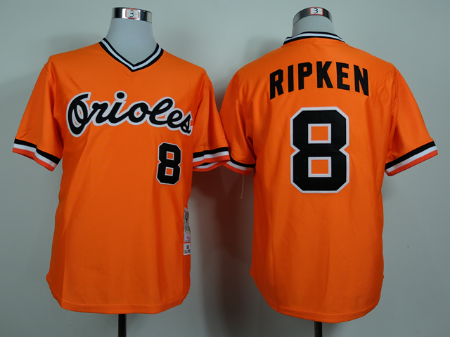 Men Baltimore Orioles 8 Cal Ripken Orange Throwback 1982 MLB Jerseys