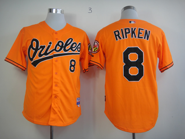 Men Baltimore Orioles 8 Cal Ripken Orange Throwback MLB Jerseys