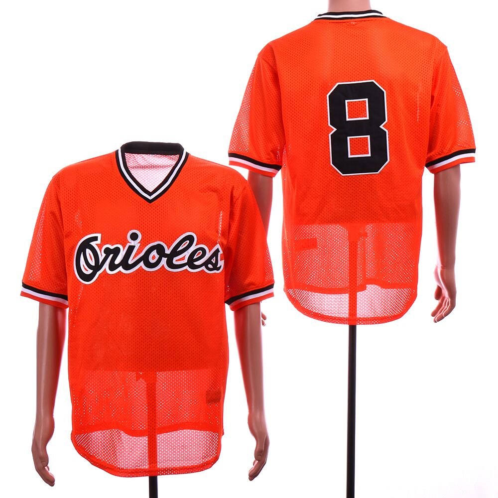 Men Baltimore Orioles 8 Cal Ripken Orange Throwback Retro net cloth MLB Jerseys