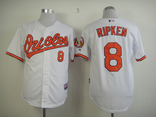 Men Baltimore Orioles 8 Cal Ripken White MLB Jerseys